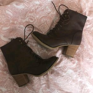 Faux leather lace up booties